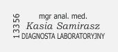 mgr anal. med. diagnosta laboratoryjny,